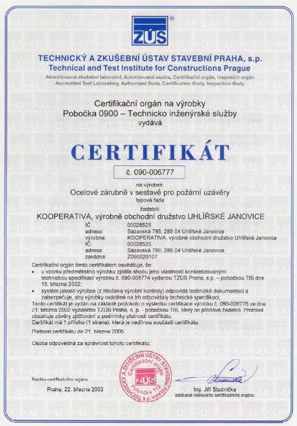 Certification kooperativa steel doorframe for fire seals certificate yadclub Gallery